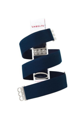 Unbelt in French Navy with Silver Buckle
