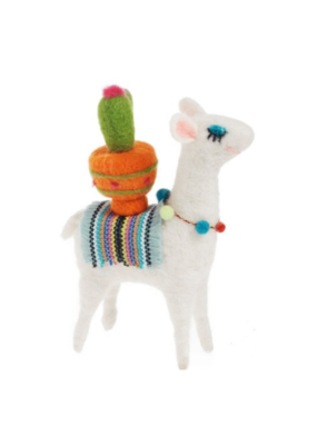 Felt Llama with Cactus Decor