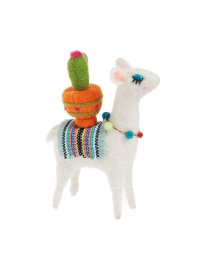 Felt Llama with Cactus Decor