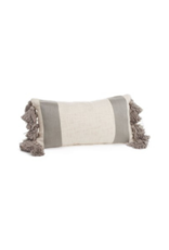 Grey & Natural Striped Cushion with Fringes