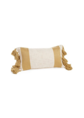 Yellow & Natural Striped Cushion with Fringes