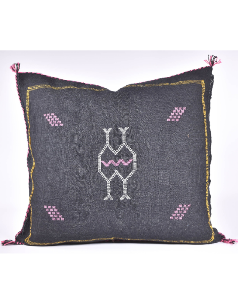 rug & weave Black Sabra Silk Pillow
