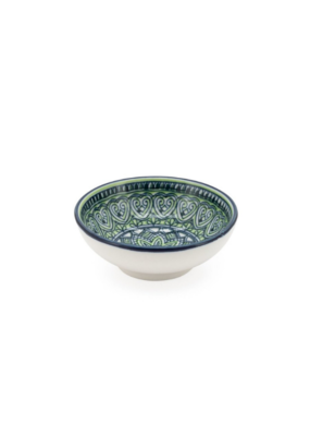 "Kiri Porcelain 3"" Sauce Dish Green Mandala"