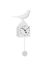 White Birdhouse Clock With Pendulum