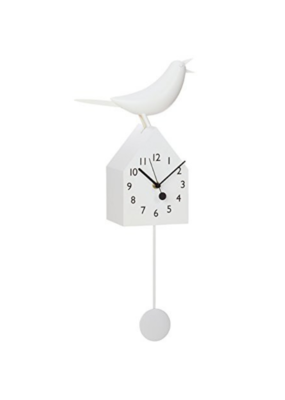 White Birdhouse Clock With Pendulum