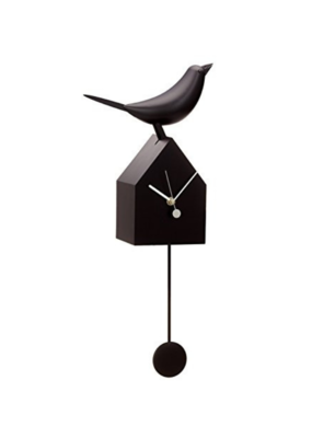Black Birdhouse Clock With Pendulum