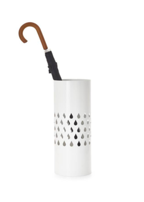 Metal Umbrella Stand With Raindrop Cutout, White