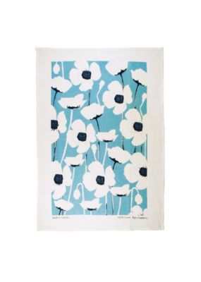 rain goose textiles Turquoise Poppy Linen Tea Towel