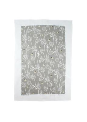 rain goose textiles Grey Bee Linen Tea Towel