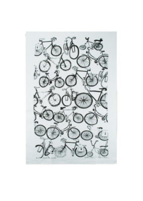 rain goose textiles Black Bike Linen Tea Towel