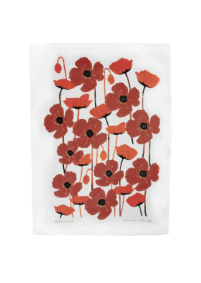 rain goose textiles Red Poppy Linen Tea Towel