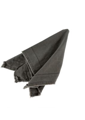 Frayed Edge Napkin Dark Grey