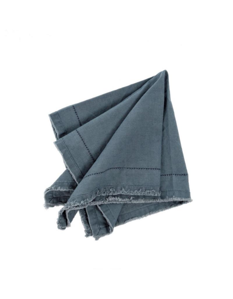 Frayed Edge Napkin Grey Blue