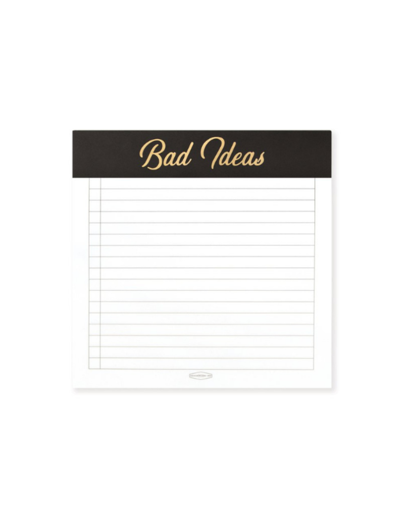 Black Bad Ideas Square Notepad