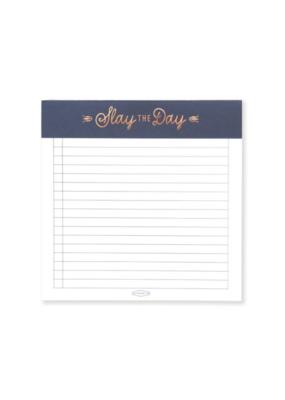 Navy Slay the Day Square Notepad