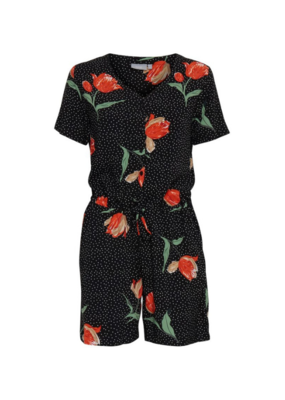 b.young b.young Playsuit Hailey Black Flower Dot