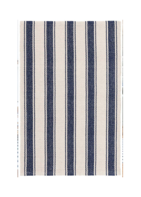 Dash & Albert Dash & Albert Blue Awning Stripe Cotton Rug 2x3