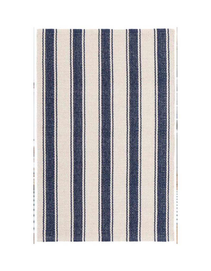 Dash & Albert Dash & Albert Blue Awning Stripe Cotton Rug 2x3