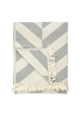 Large Chevron Turkish Throw Light Grey
