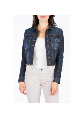 "Kut from the Kloth KUT ""Kara"" Denim Jacket With Frayed Hem in Constantly Wash"