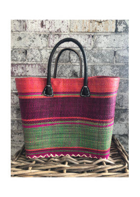 Small Market Bag Orange, Green & Pink Stripe