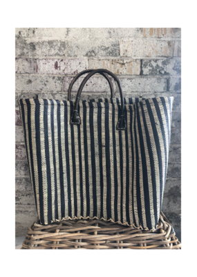 Medium Market Bag Natural & Black Block Stripes