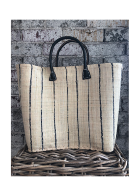 Medium Market Bag Natural w Black Stripe