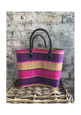 Small Market Bag Green, Purple & Pink Block Stripe