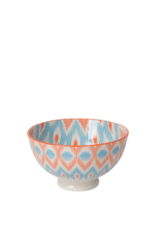"Bowl Stamped 4"" Blue/Orange Ikat"
