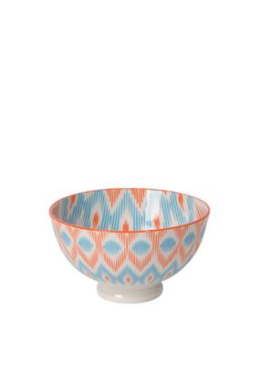 """Bowl Stamped 4"""" Blue/Orange Ikat"""