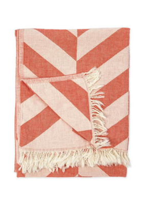 Large Chevron Turkish Throw/Towel - Mandarin