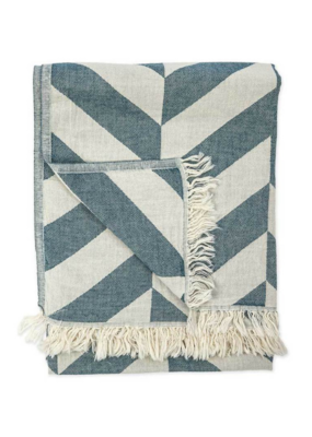 Large Chevron Turkish Throw/Towel - Petrol