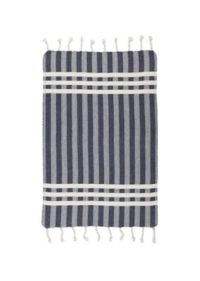 Criss Cross Turkish Hand Towel Navy