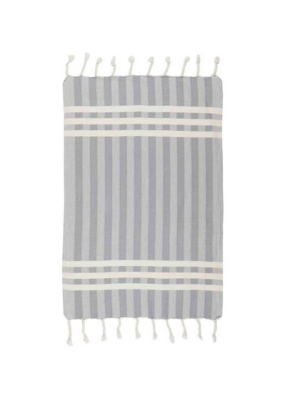 Criss Cross Turkish Hand Towel - Light Grey