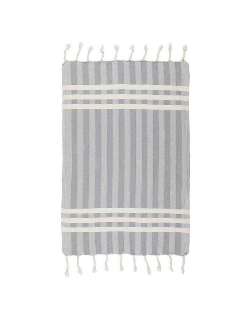 Criss Cross Turkish Hand Towel - Light Grey