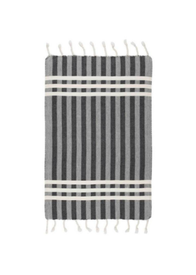 Criss Cross Turkish Hand Towel - Black