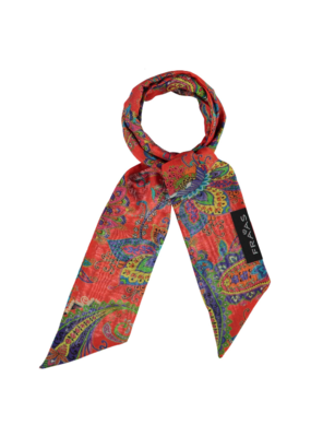 Skinny Silk Blend Scarf - Red Paisley