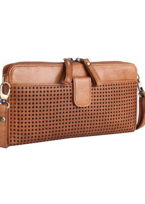 """""""Naomi"""" Leather Crossbody Handbag by Milo in Cognac"""