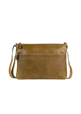 """Gabriella"" Leather Crossbody Handbag by Milo in Buckskin"
