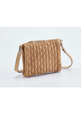 """Evelyn"" Leather Crossbody Handbag by Milo in Taupe"