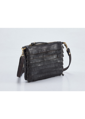 """Amelia"" Leather Crossbody Handbag by Milo in Black"