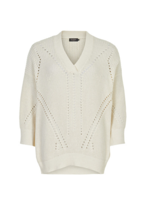 Soaked in Luxury SOAKED Oceane Rodeo Sweater with 3/4 Sleev in White