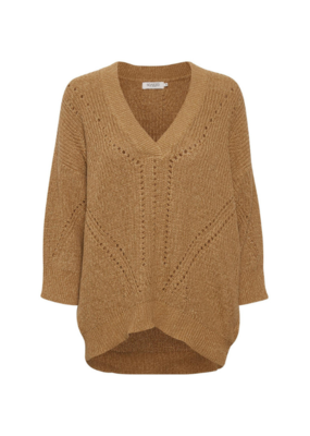 Soaked in Luxury SOAKED Oceane Rodeo Sweater with 3/4 Sleeve in Brown