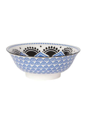 """Blue Floral Stamped Bowl 8"""""""