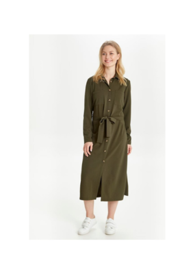 "b.young b.young ""Puxi Shirt Dress"" in Olive Night"