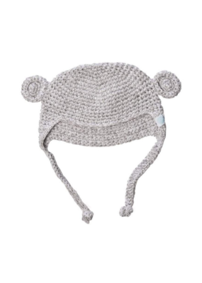 Beba Bean Crochet Bear Toque Grey