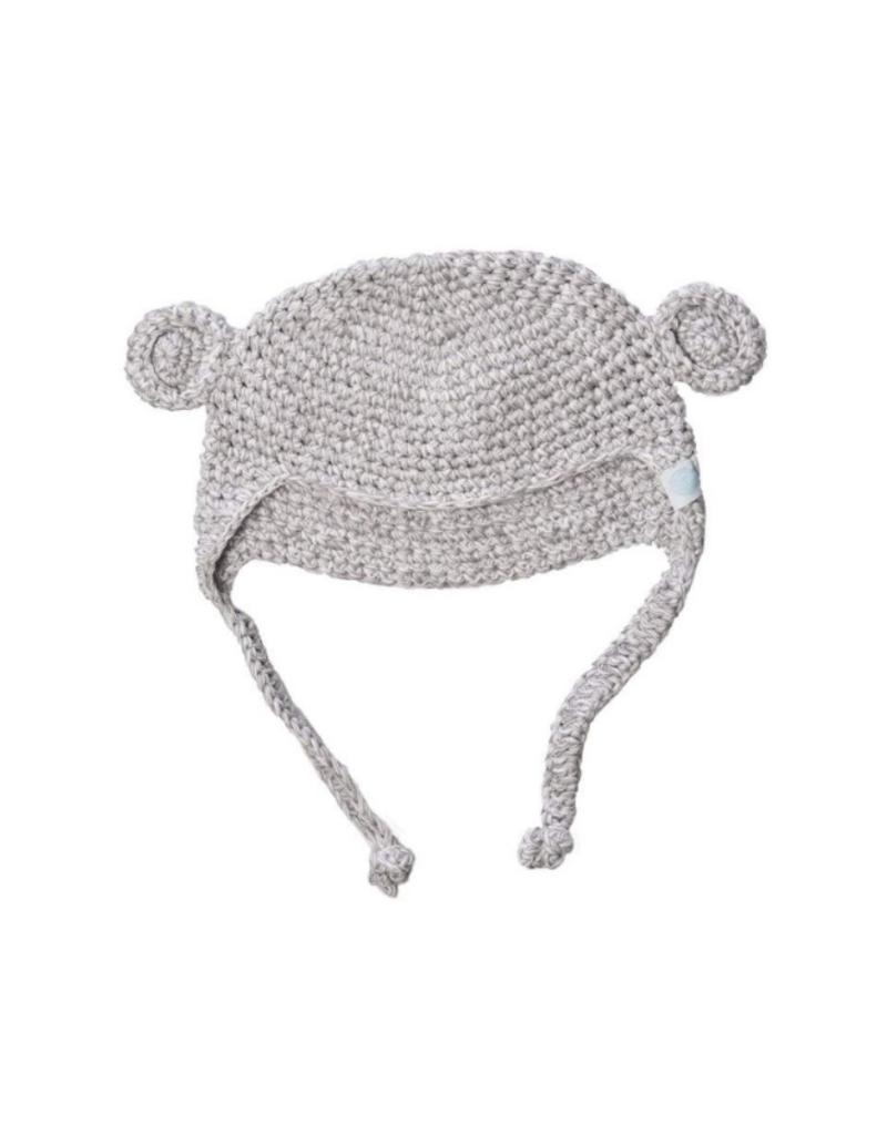 Beba Bean Crochet Bear Toque Grey