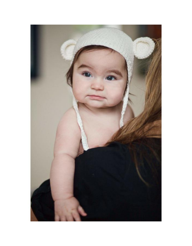 Beba Bean Crochet Bear Toque Ivory