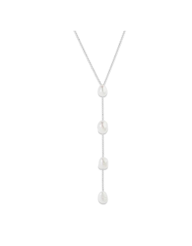 PILGRIM Pilgrim Goddess Ran Adjustable Pearl Necklace in Silver