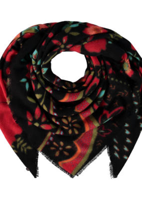 FRAAS Kitschy Floral Scarf Charcoal